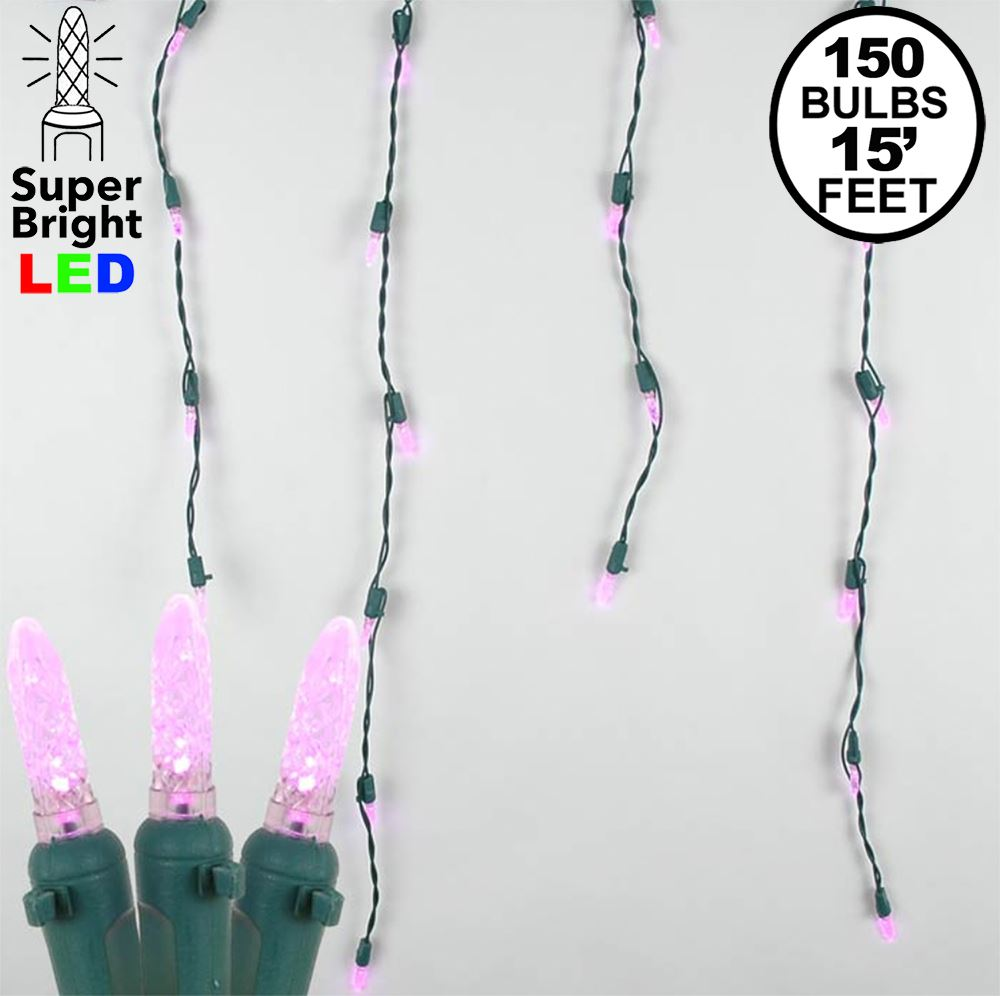 Picture of Pink LED Icicle Lights on Green Wire 150 Bulbs