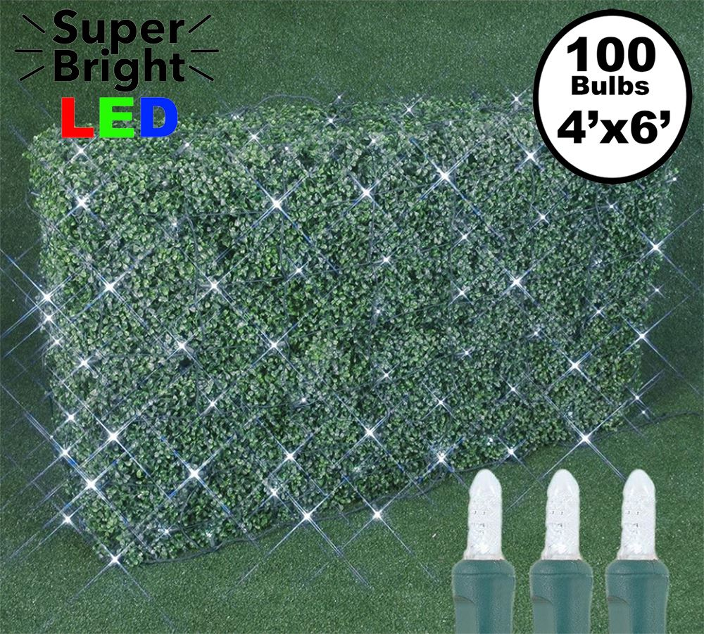 Picture of 100 LED M8 Net Light Set - Pure White - Green Wire - 4' x 6'