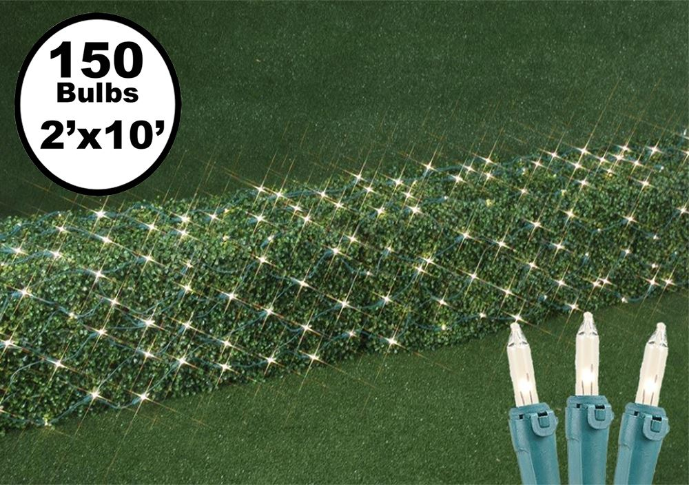 Picture of 2' x 10' Super Bright Clear Net Lights - Green Wire
