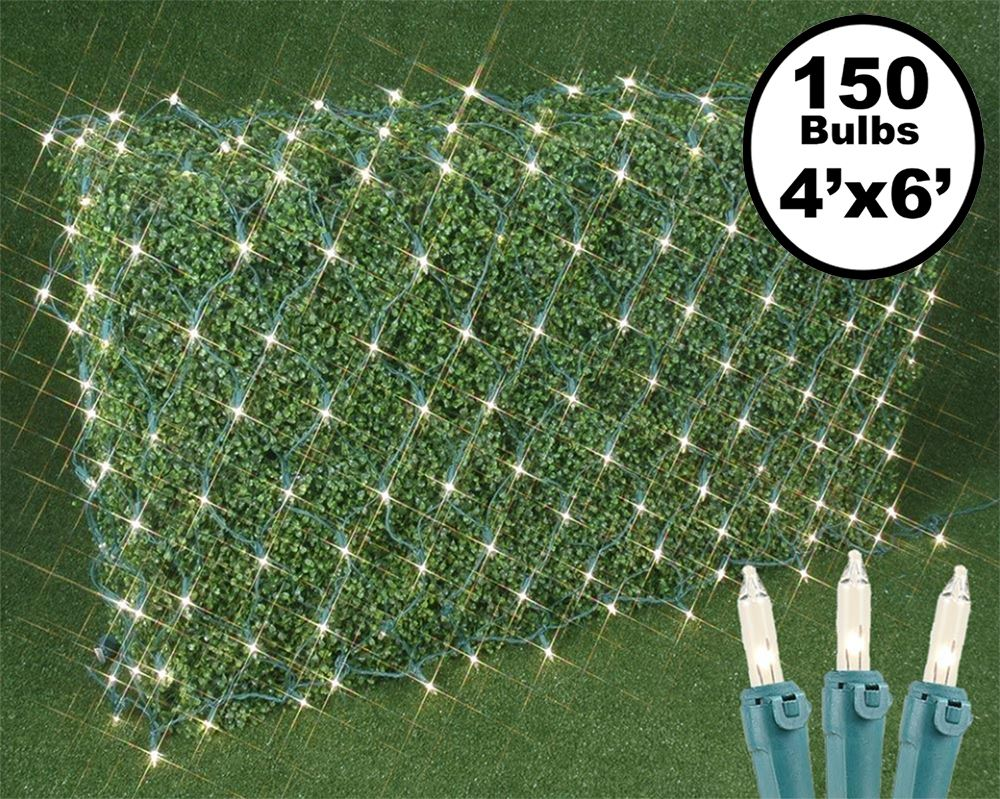 Picture of 4' X 6' Super Bright Clear Net Lights - Green Wire