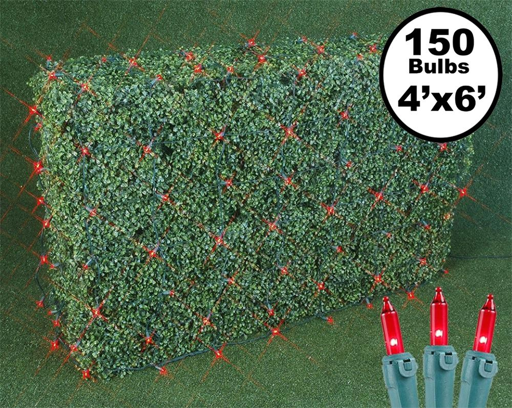 Picture of 4' X 6' Super Bright Red Net Lights - Green Wire