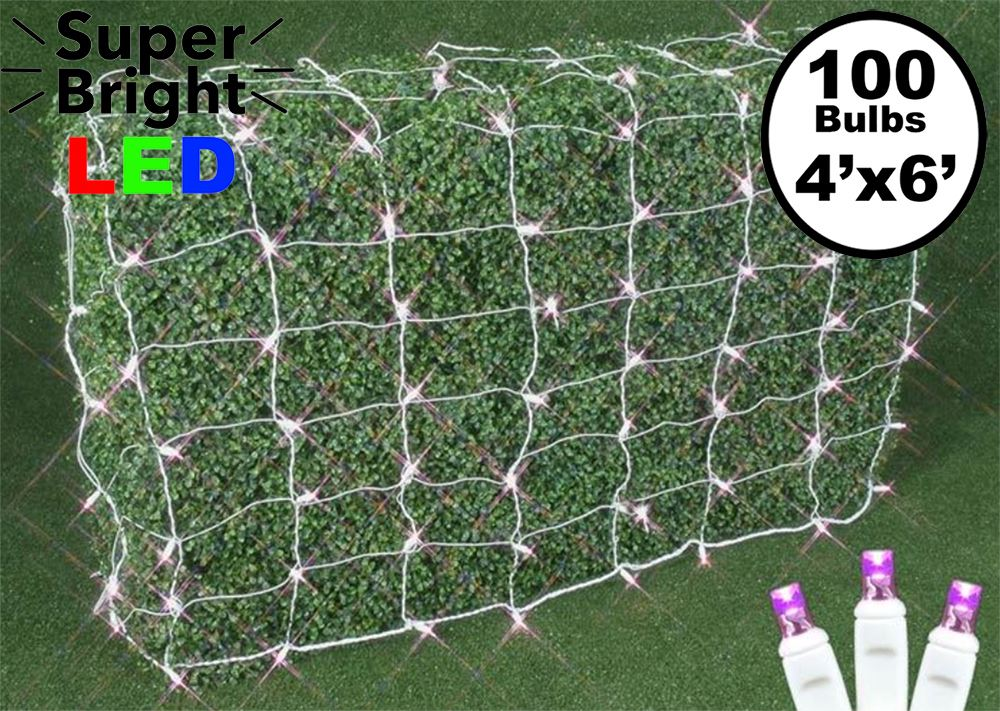 Pink Led Net Lights White Wire 4 X 6