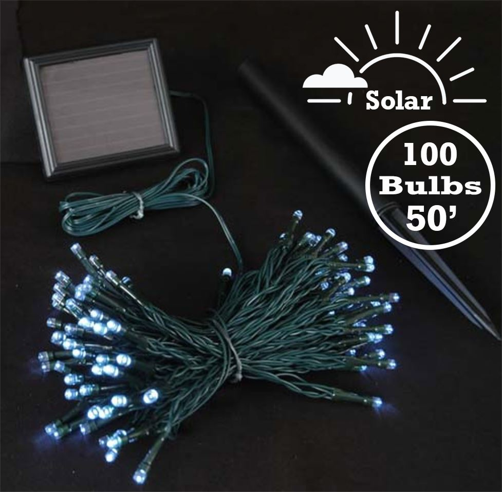 Picture of Pure White LED Solar Powered Lights 100 Light String Green Wire
