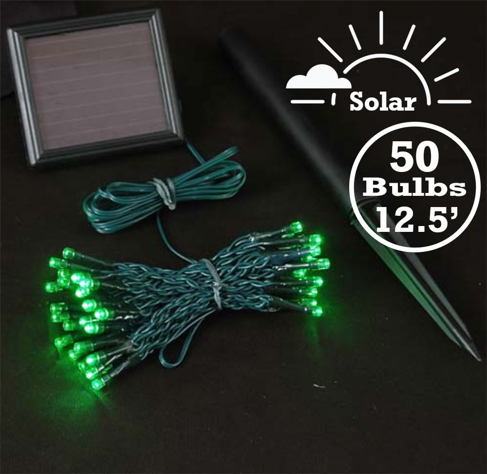 Picture of Green LED Solar Powered Lights 50 Light String Green Wire