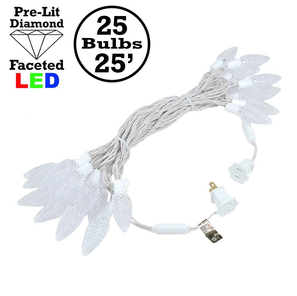 Picture of 25 Pure White LED C9 Pre-Lamped String Lights on White Wire
