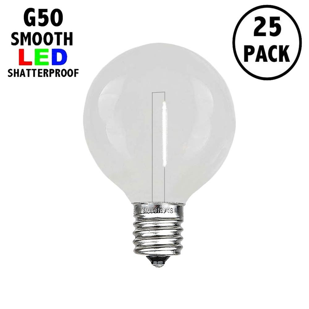 Picture of Pure White LED G50 Plastic Filament LED Globe Bulbs - 25pk