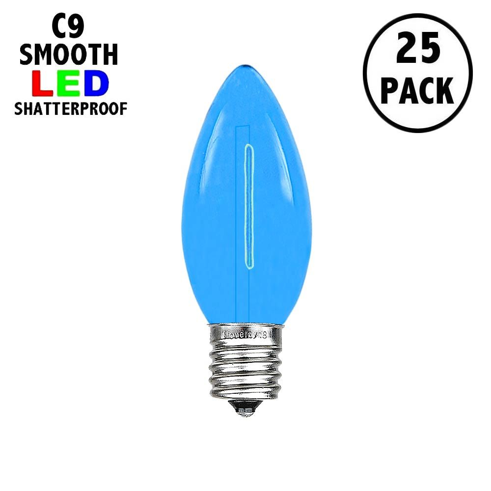 Picture of Blue C9 LED Plastic Filament Replacement Bulbs 25 Pack