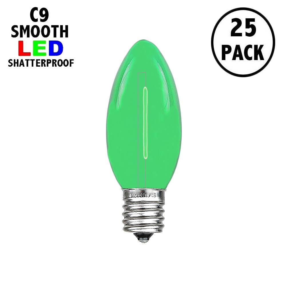 Picture of Green C9 LED Plastic Filament Replacement Bulbs 25 Pack