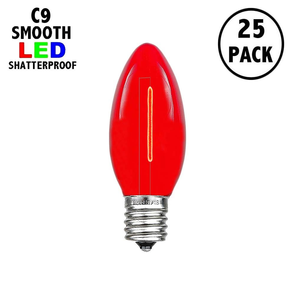 Picture of Red C9 LED Plastic Filament Replacement Bulbs 25 Pack