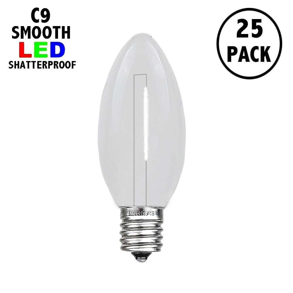 Picture of Pure White C9 LED Plastic Filament Replacement Bulbs 25 Pack