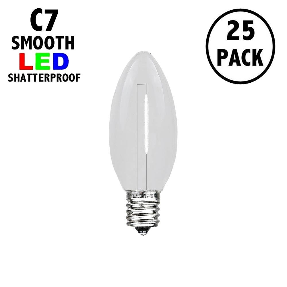 Picture of Pure White C7 LED Plastic Filament Replacement Bulbs 25 Pack