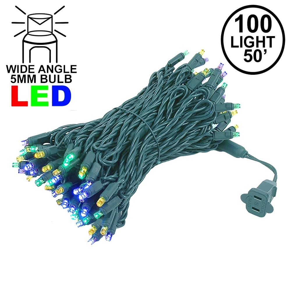 Picture of Commercial Grade Wide Angle 100 LED Yellow Purple Green 50' Long on Green Wire