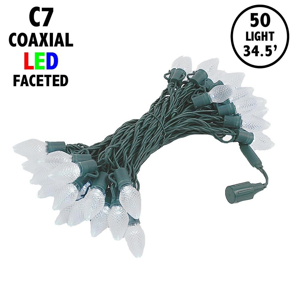 "Picture of C7 Coaxial 50 LED Pure White 8"" Spacing Green Wire"