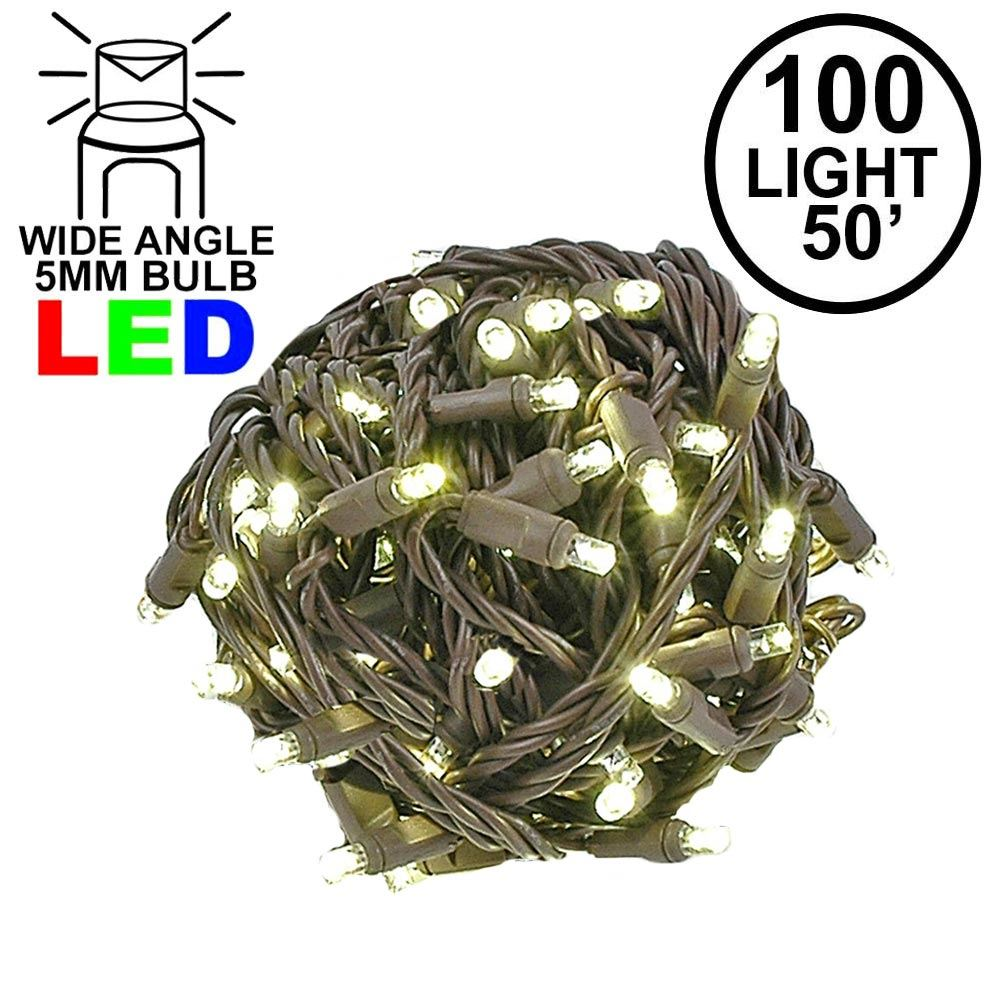 "Picture of Coaxial 100 LED Warm White 6"" Spacing Brown Wire"