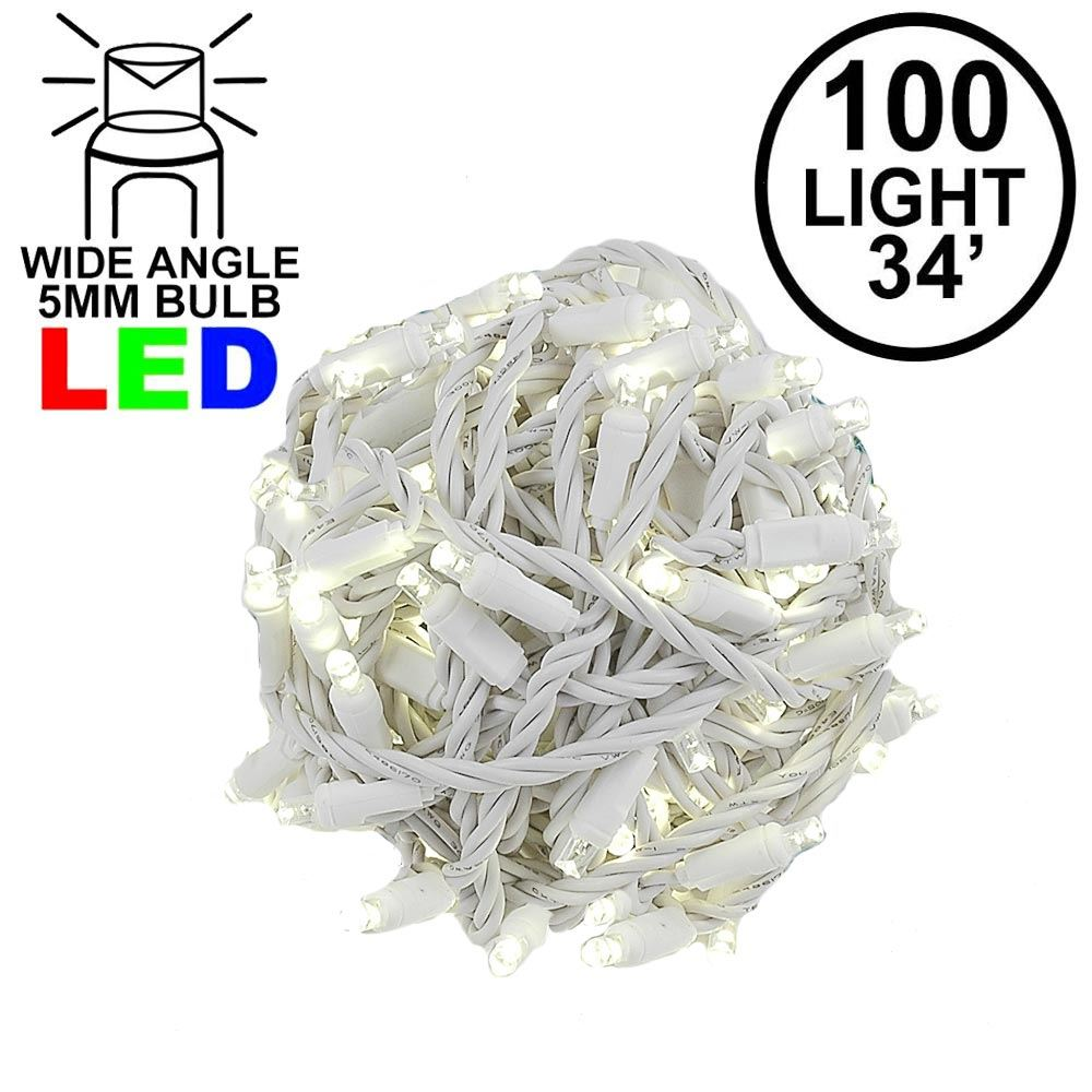 "Picture of Coaxial 100 LED Warm White 4"" Spacing White Wire"