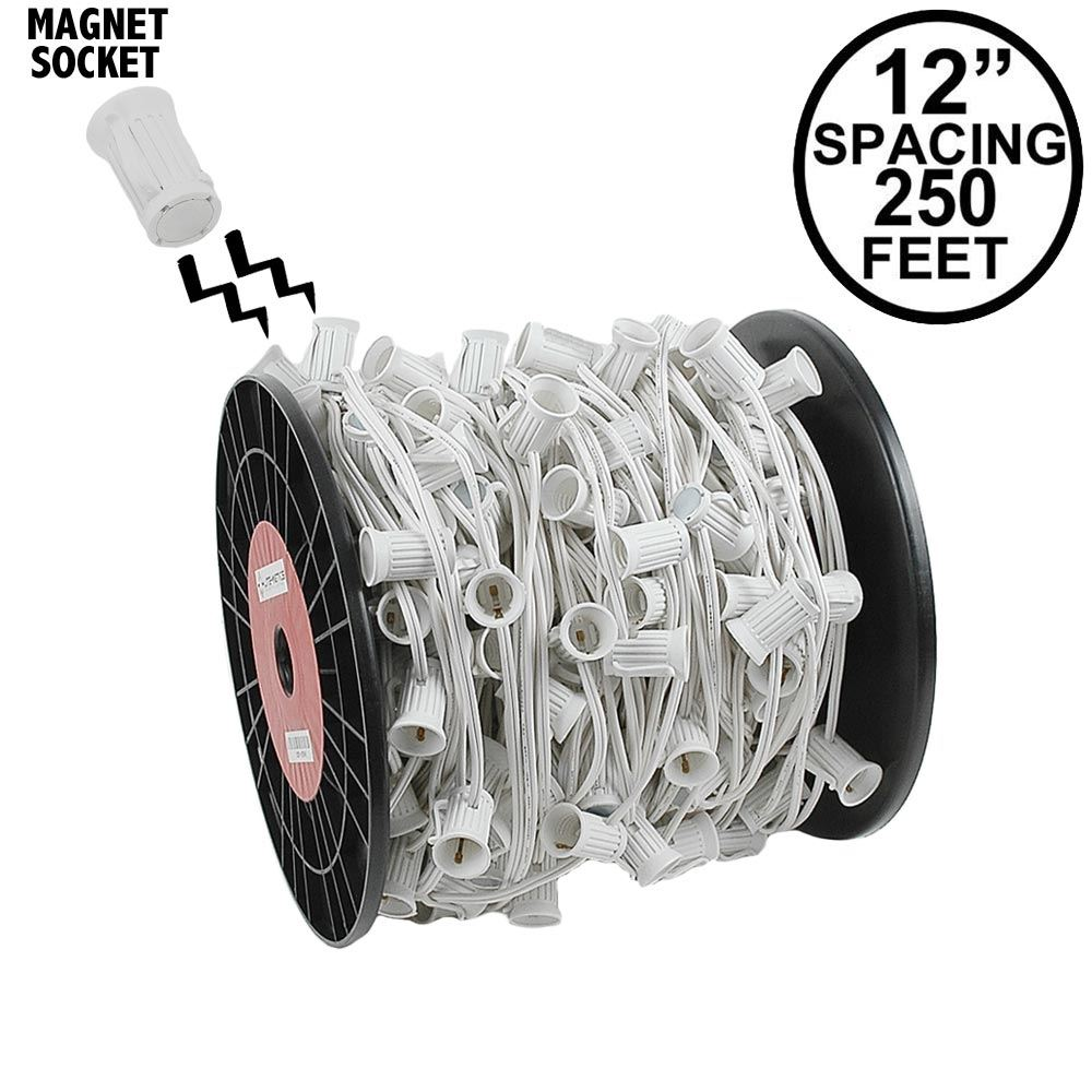 "Picture of C7 Magnetic 250' Spool 12"" Spacing White Wire"