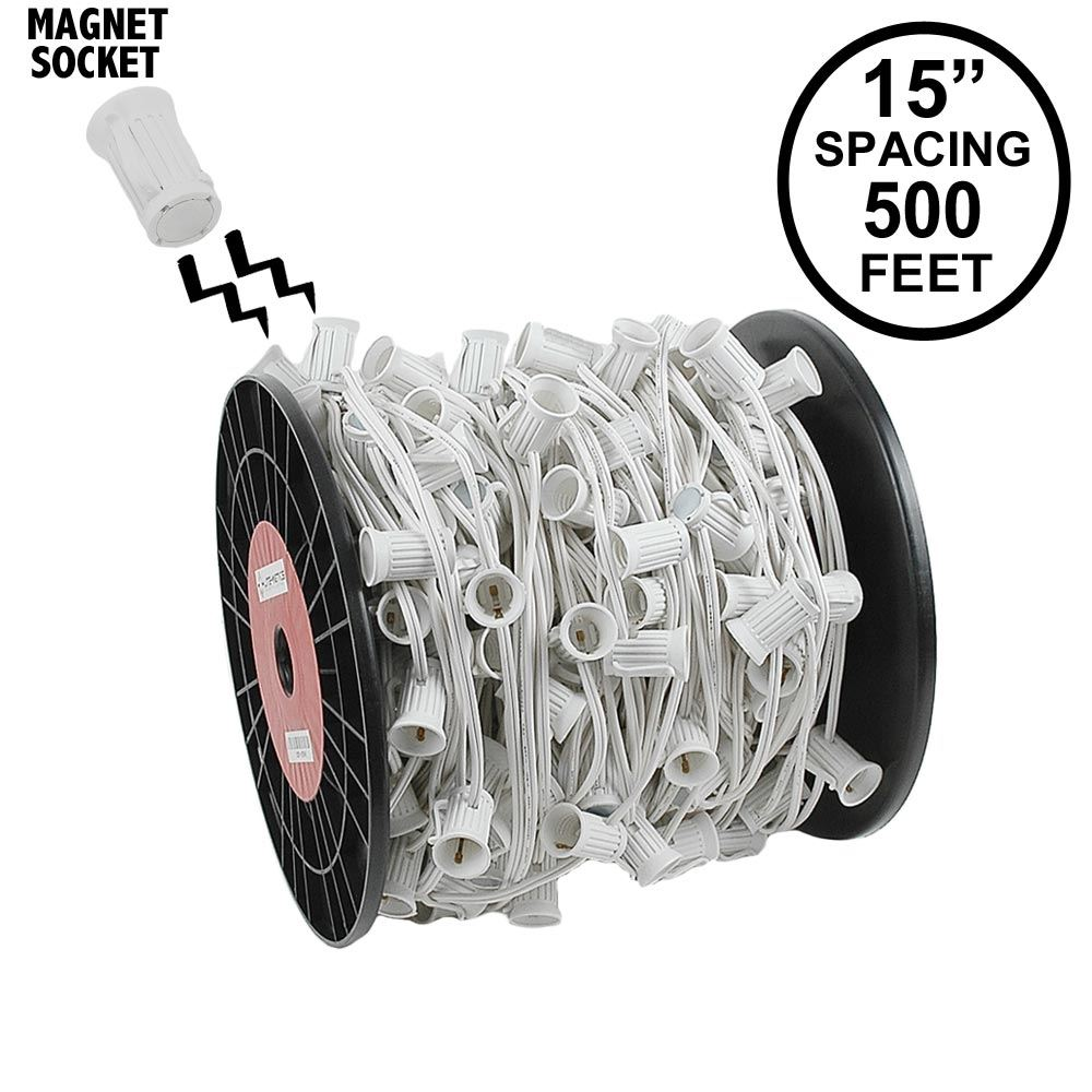 "Picture of C9 Magnetic 500' Spool 15"" Spacing White Wire"