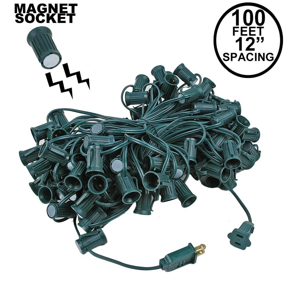 "Picture of C7 Magnetic 100' Stringers 12"" Spacing Green Wire"