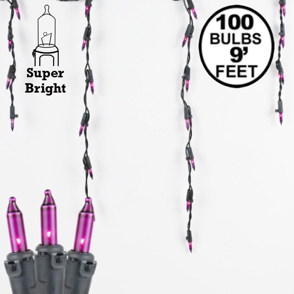 Picture of Purple 100 Light Icicle Lights Black Wire Medium Drops