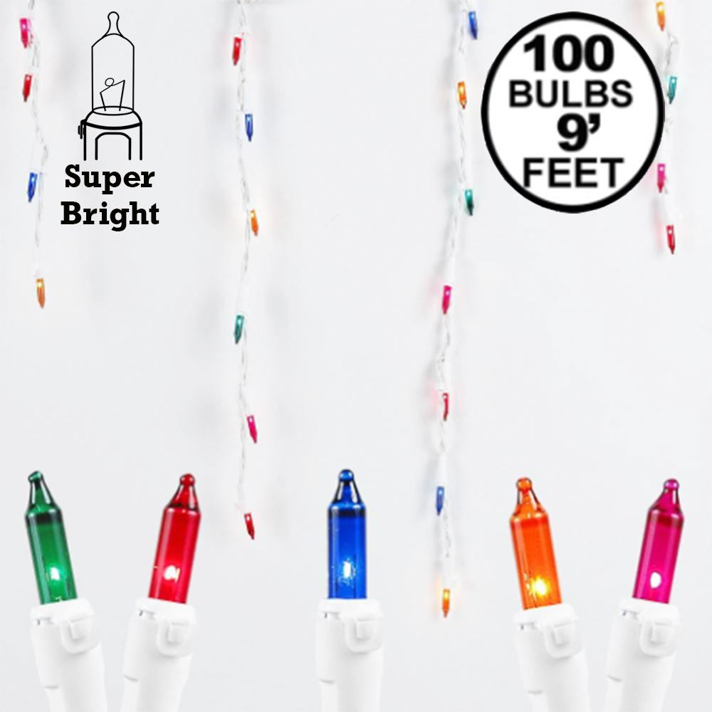 Picture of Multi 100 Light Icicle Lights White Wire Medium Drops