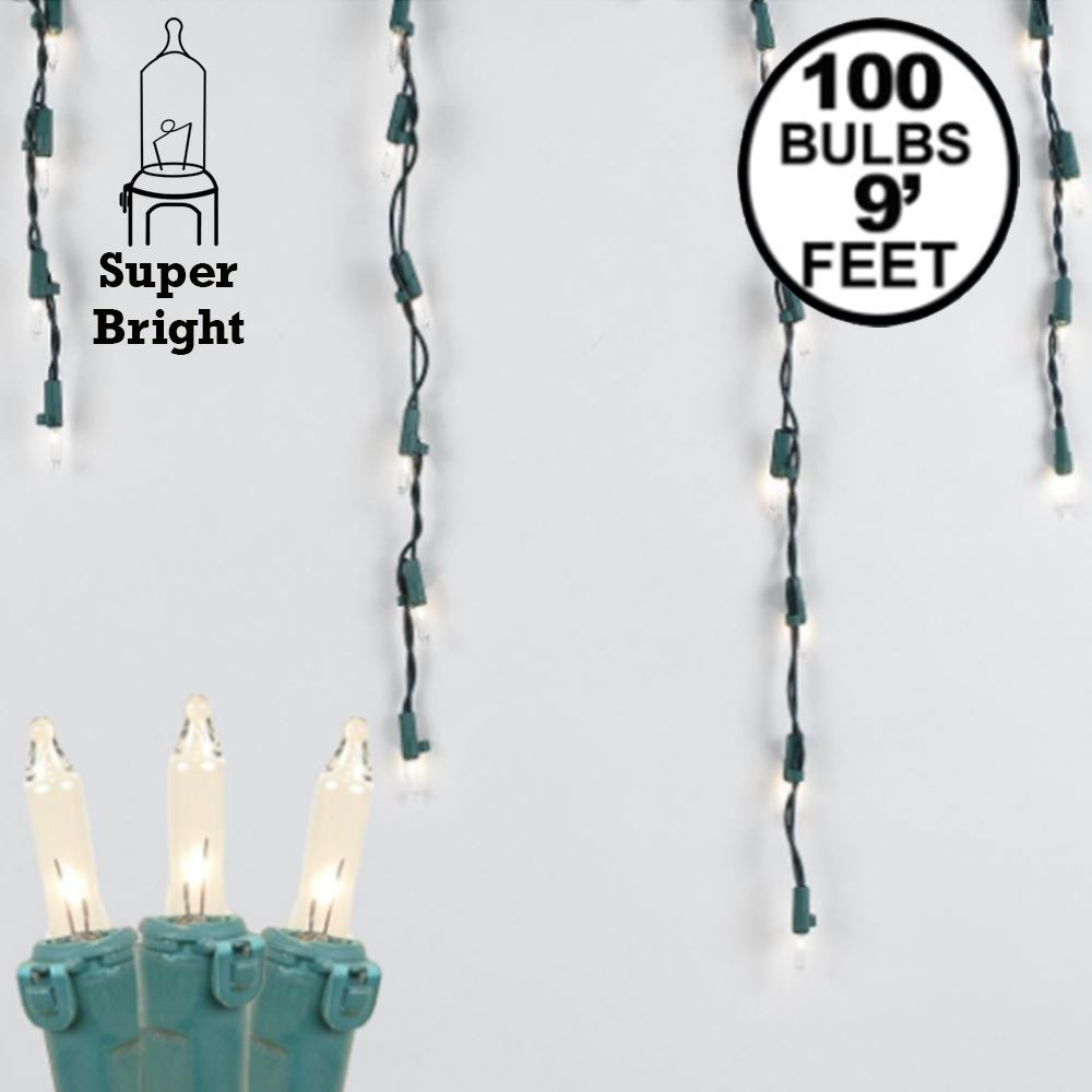 Picture of Clear 100 Light Icicle Lights Green Wire Medium Drops