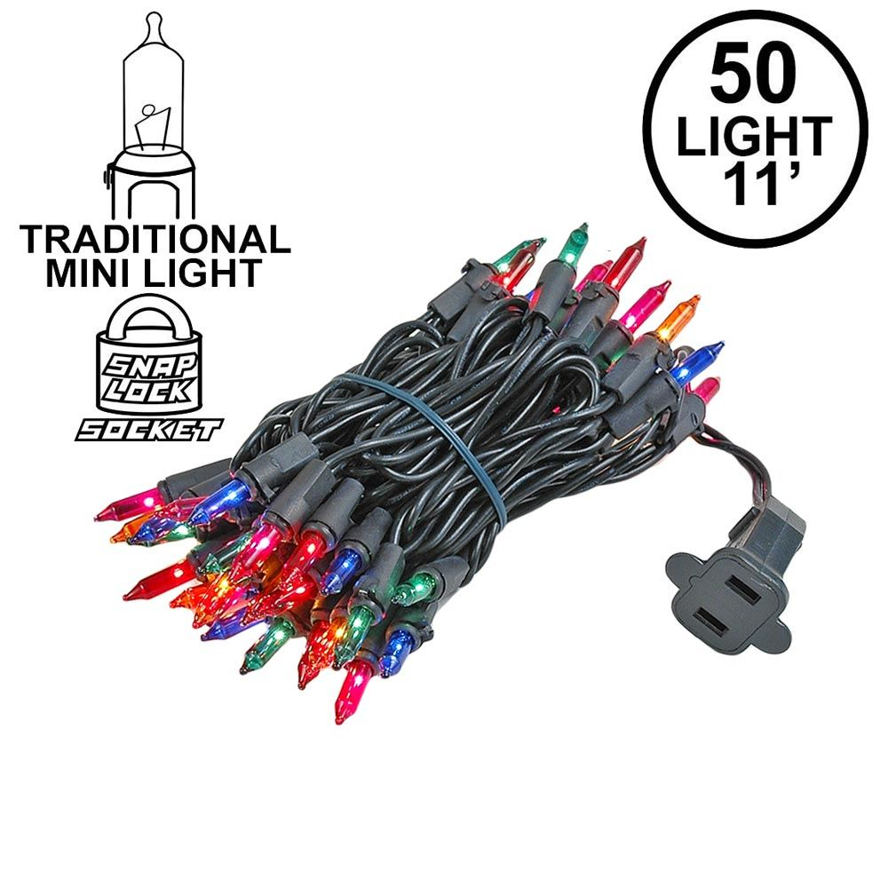 Picture of Multi Colored Christmas Mini Lights 50 Light on Black Wire 11 Feet Long