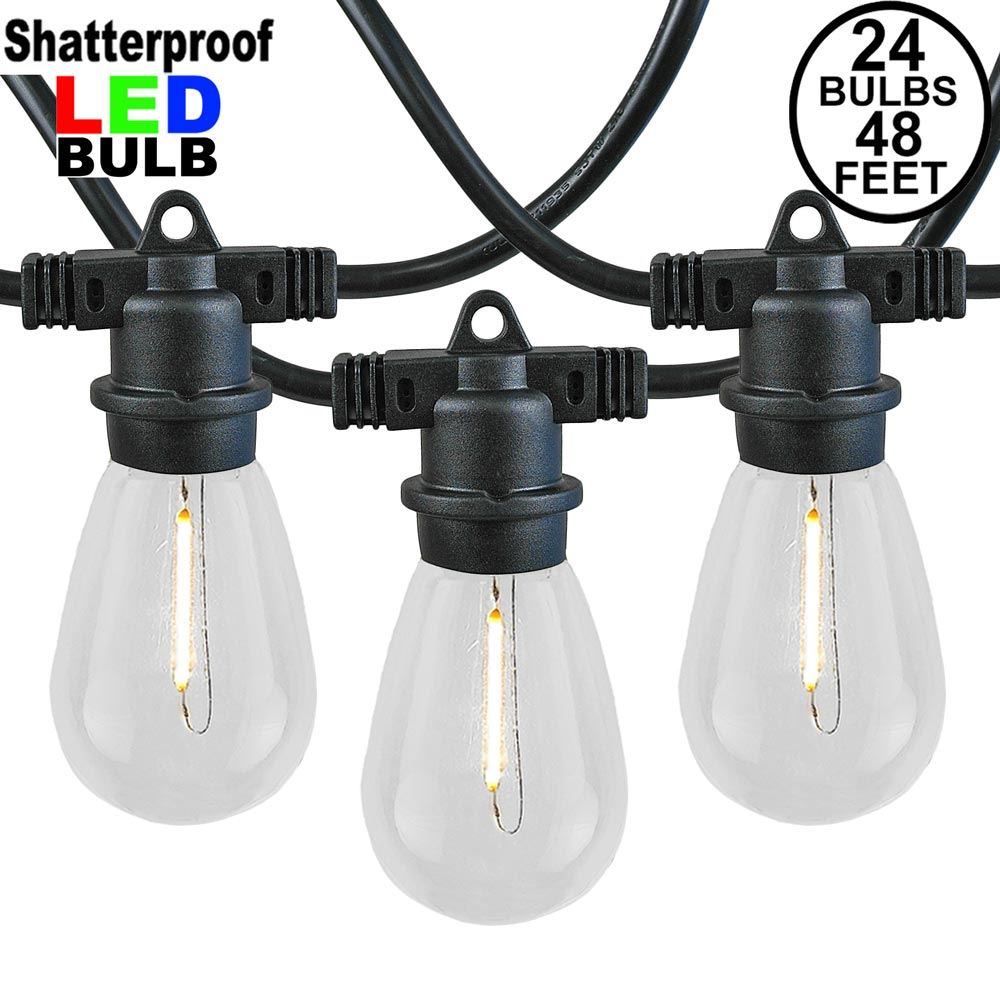 Picture of 24 Warm White Plastic LED S14 Commercial Grade Light String Set on 48' of Black Wire Shatterproof