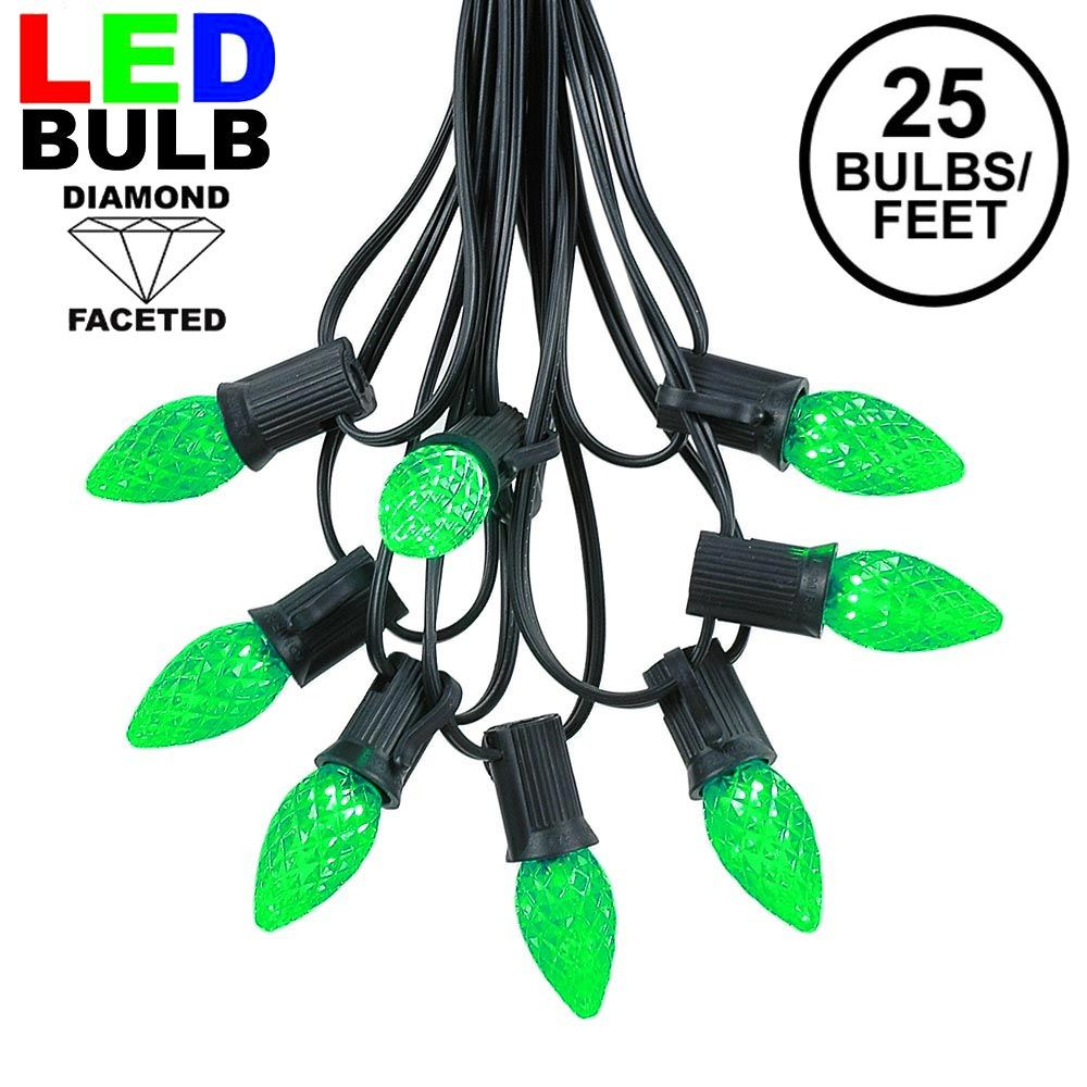 Picture of 25 Light String Set with Green LED C7 Bulbs on Black Wire