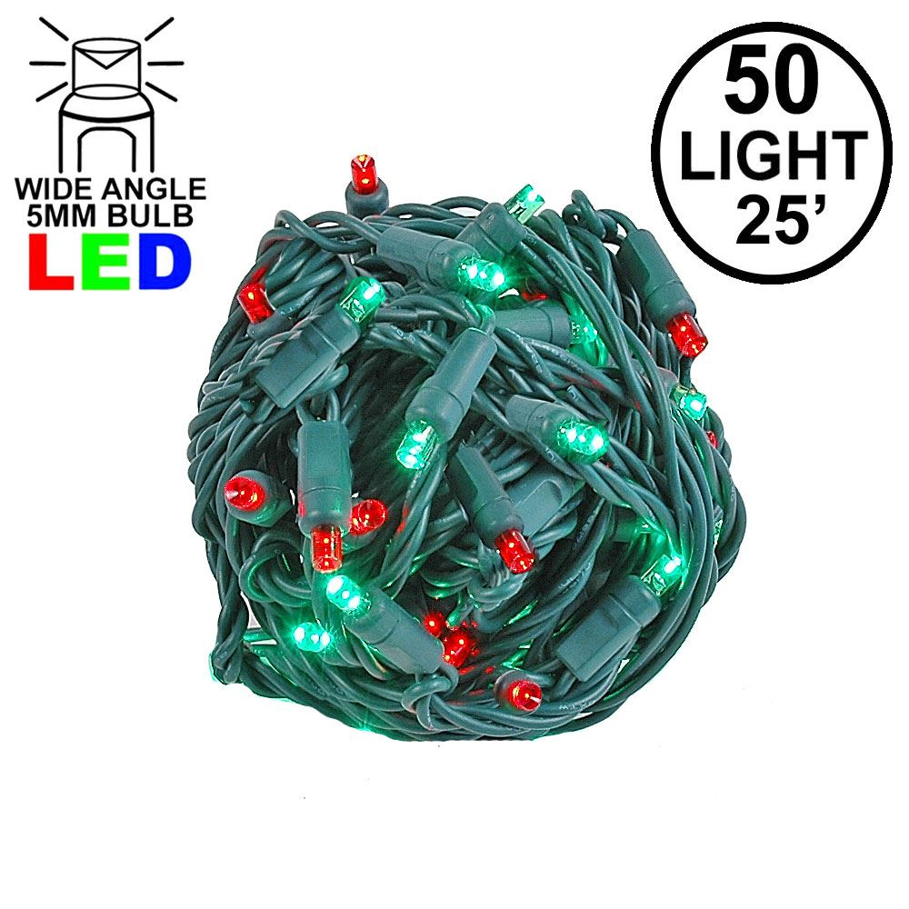 Picture of Commercial Grade Wide Angle 50 LED Red/Green 25' Long on Green Wire