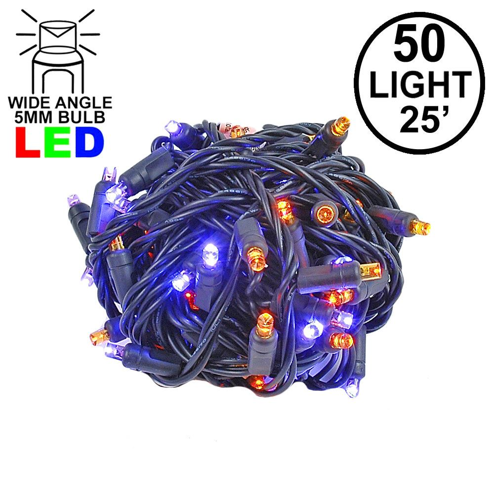 Picture of Commercial Grade Wide Angle 50 LED Purple/Amber 25' Long on Black Wire