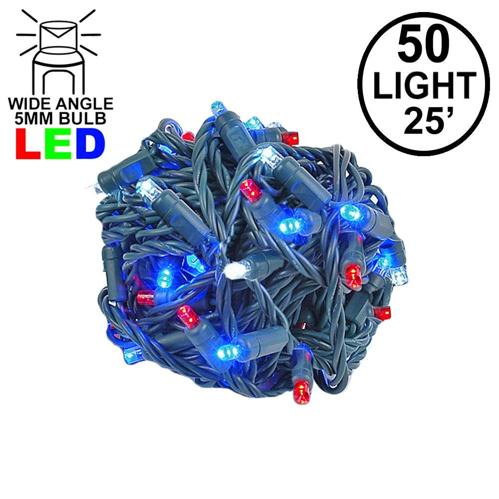 Picture of Commercial Grade Wide Angle 50 LED Red/White/Blue 25' Long on Green Wire