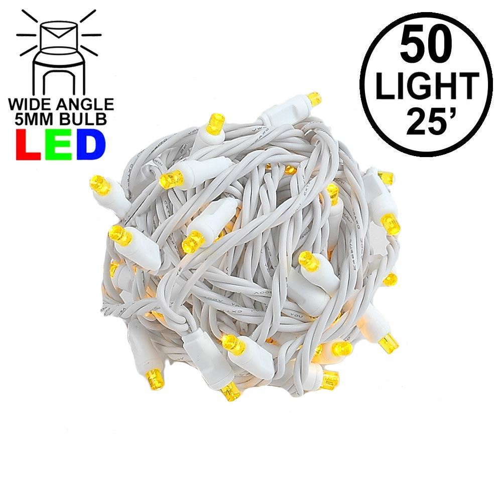 Picture of Commercial Grade Wide Angle 50 LED Yellow 25' Long White Wire