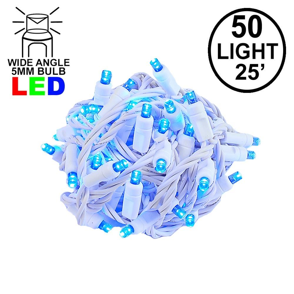 Picture of Commercial Grade Wide Angle 50 LED Blue 25' Long on White Wire