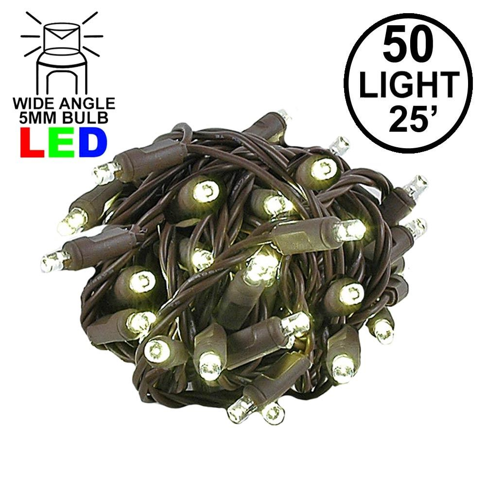 Picture of Commercial Grade Wide Angle 50 LED Warm White 25' Long on Brown Wire