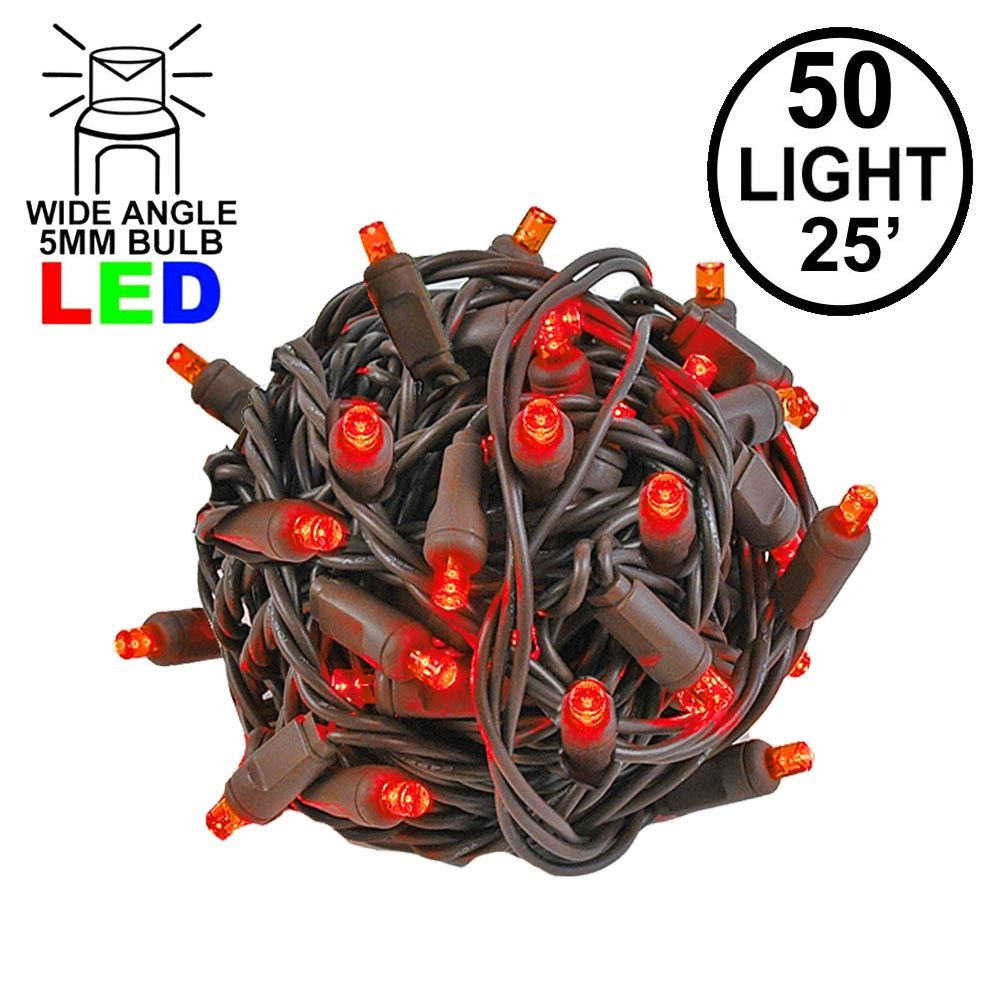 Picture of Commercial Grade Wide Angle 50 LED Red 25' Long on Brown Wire