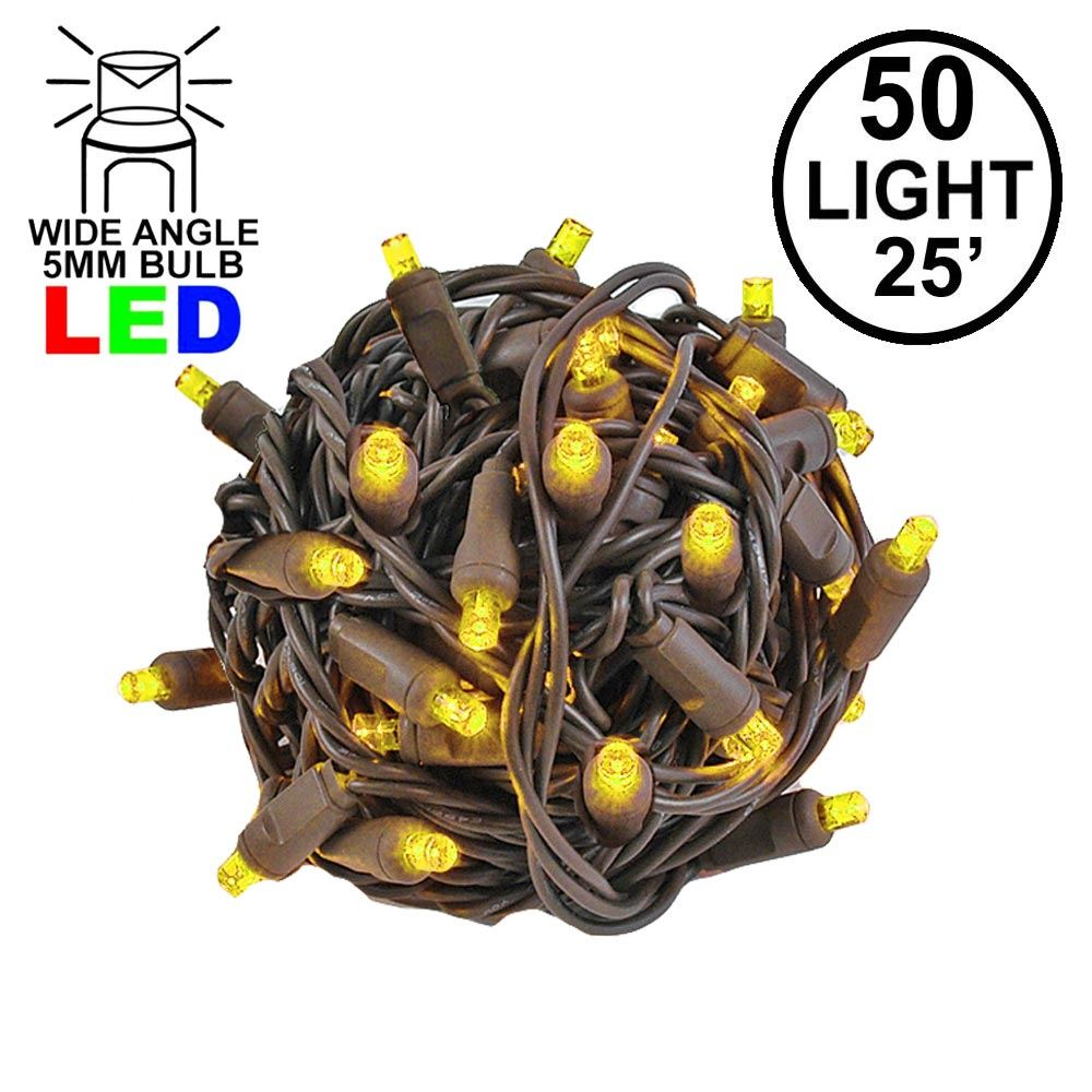 Picture of Commercial Grade Wide Angle 50 LED Yellow 25' Long on Brown Wire