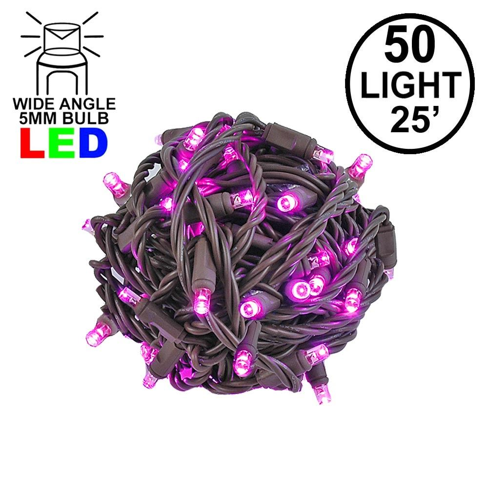 Picture of Commercial Grade Wide Angle 50 LED Pink 25' Long on Brown Wire