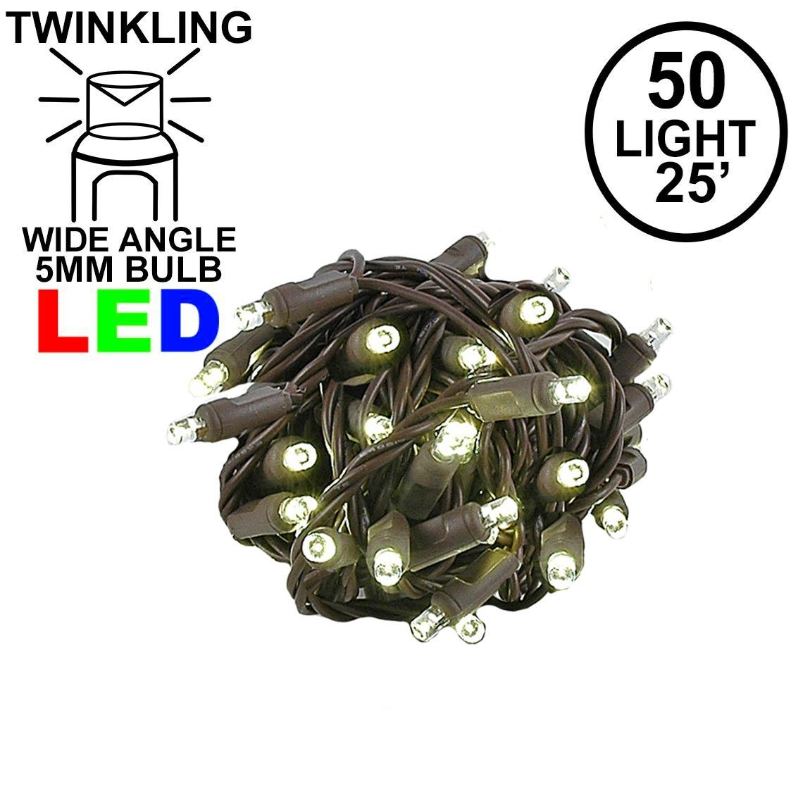 Picture of Twinkle LED Christmas Lights 50 LED Warm White 25' Brown Wire