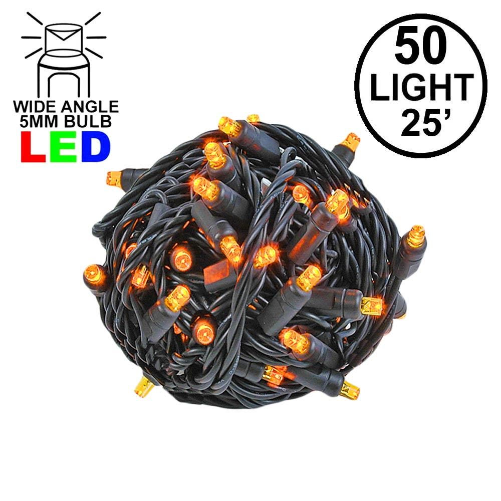 Picture of Commercial Grade Wide Angle 50 LED Amber 25' Long on Black Wire