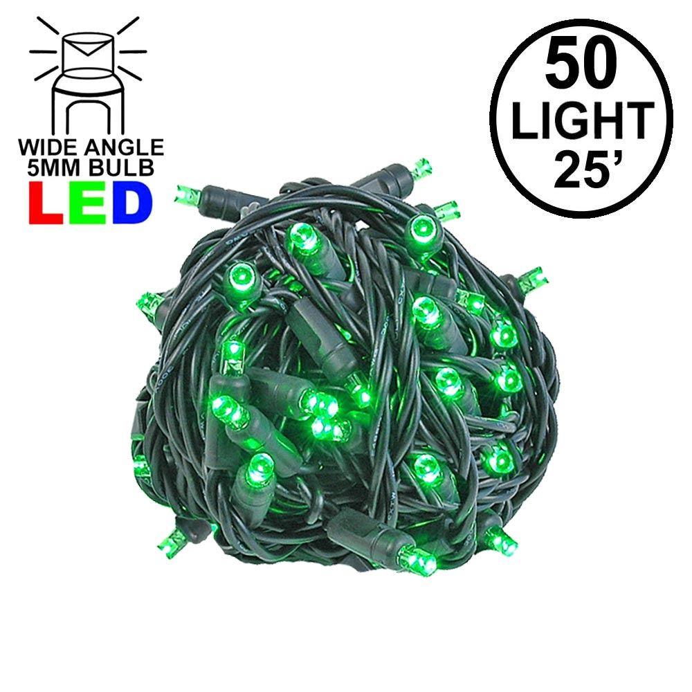 Picture of Commercial Grade Wide Angle 50 LED Green 25' Long on Black Wire