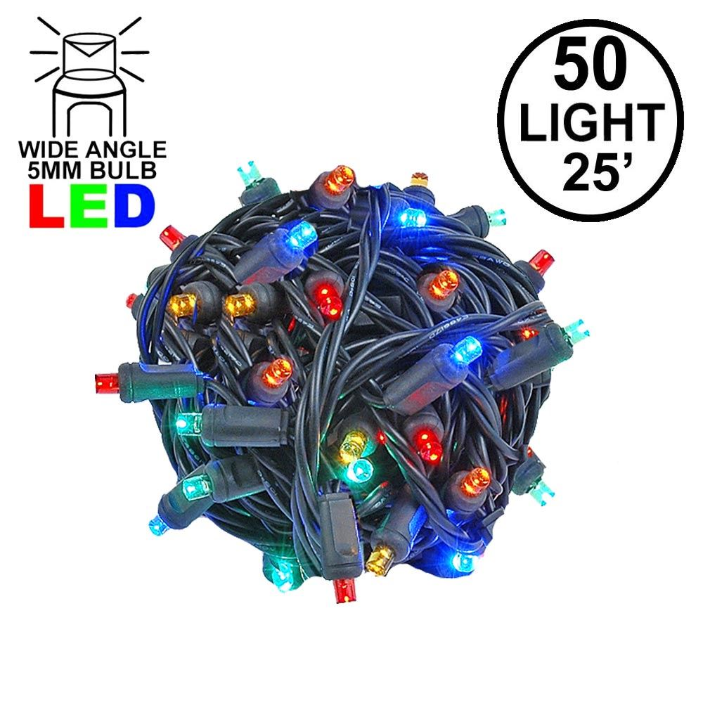 Picture of Commercial Grade Wide Angle 50 LED Multi 25' Long on Black Wire