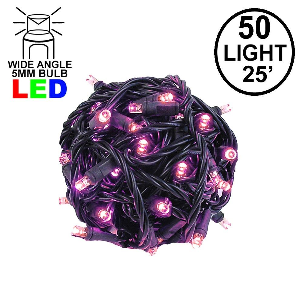 Picture of Commercial Grade Wide Angle 50 LED Pink 25' Long on Black Wire