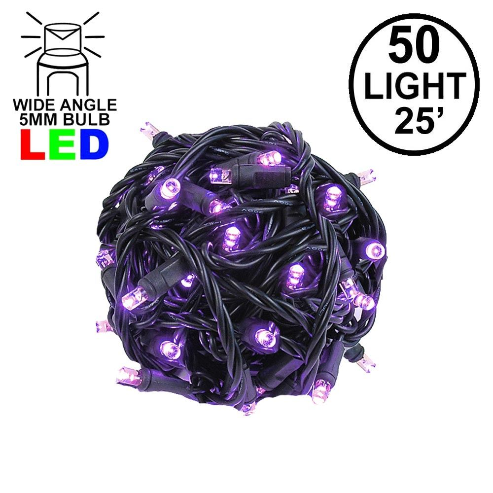 Picture of Commercial Grade Wide Angle 50 LED Purple 25' Long on Black Wire