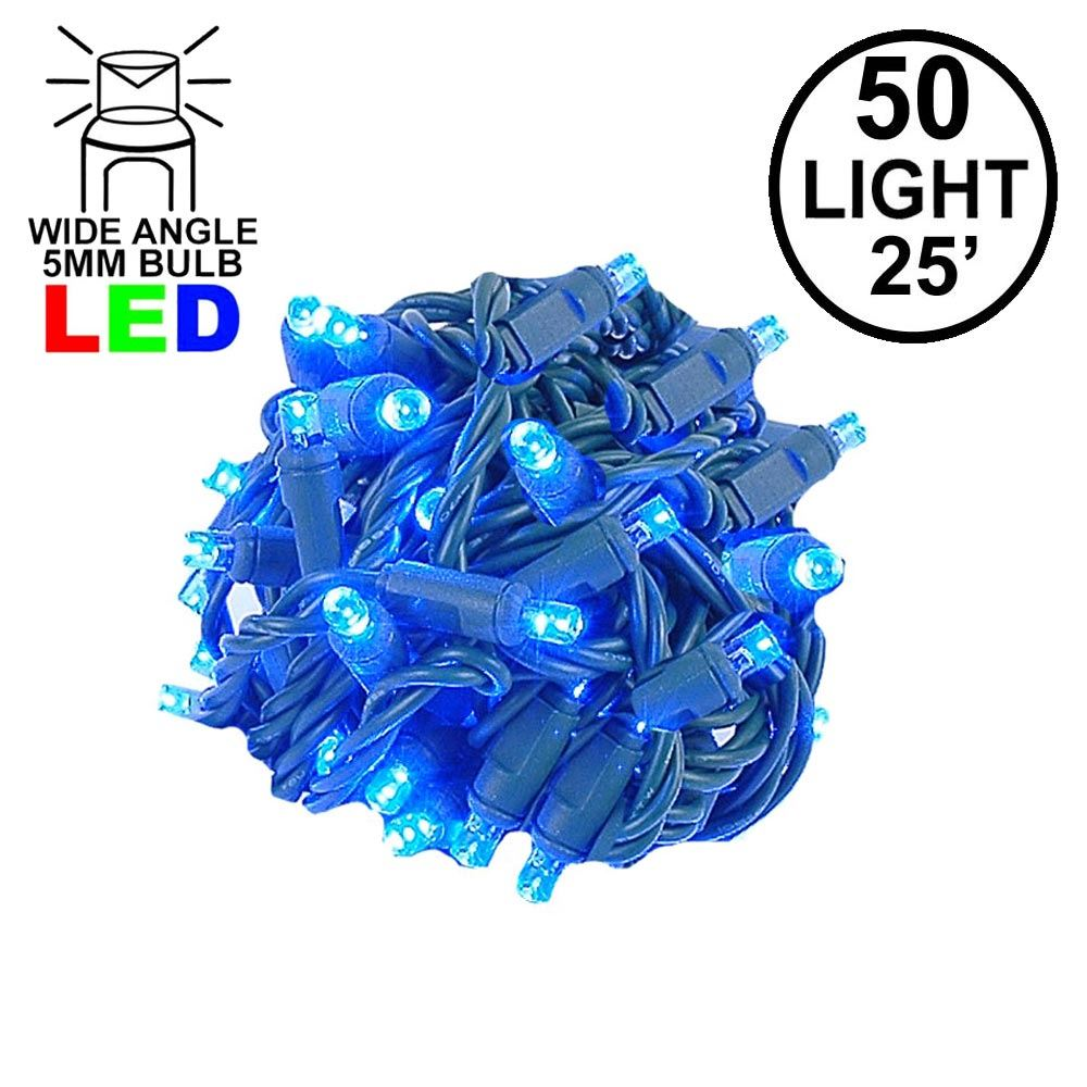 Picture of Commercial Grade Wide Angle 50 LED Blue 25' Long on Green Wire