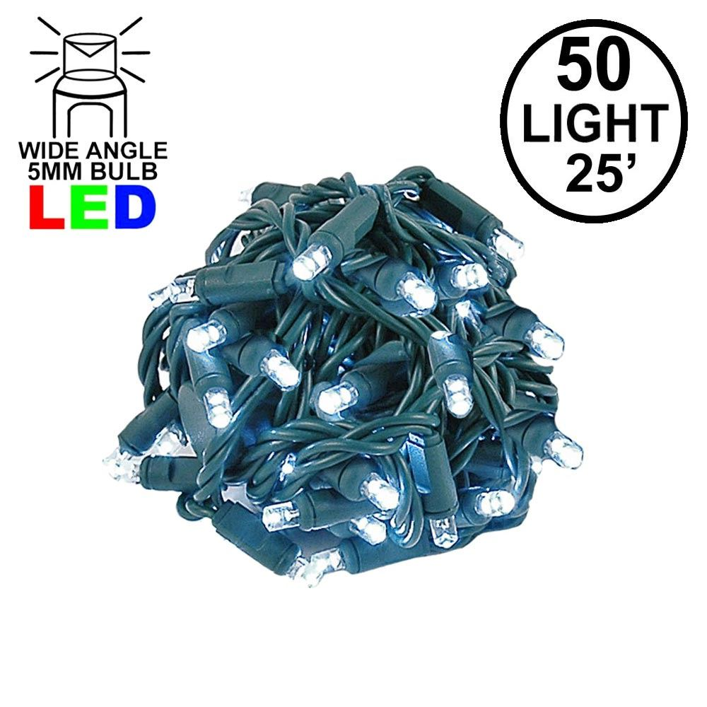Picture of Commercial Grade Wide Angle 50 LED Pure White 25' Long on Green Wire