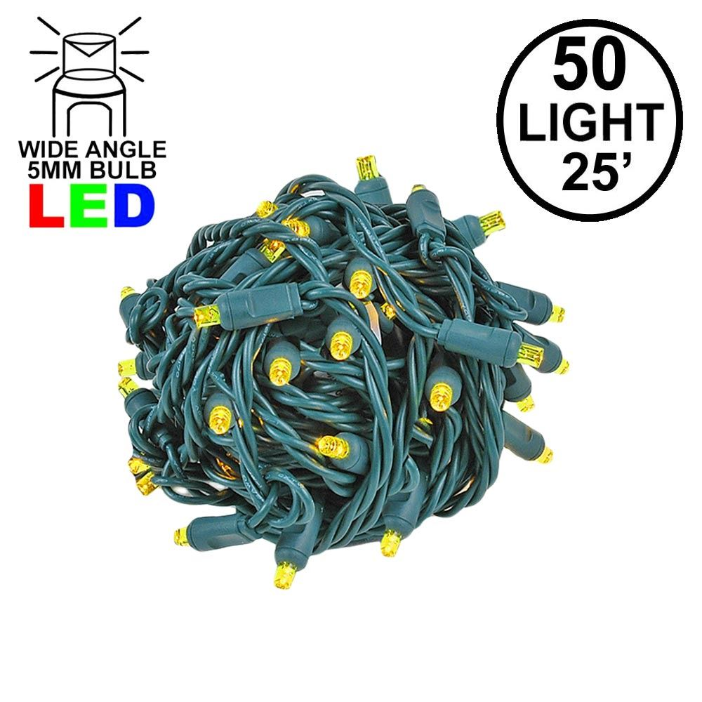 Picture of Commercial Grade Wide Angle 50 LED Yellow 25' Long on Green Wire