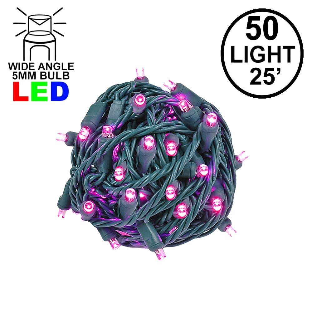 Picture of Commercial Grade Wide Angle 50 LED Pink 25' Long on Green Wire