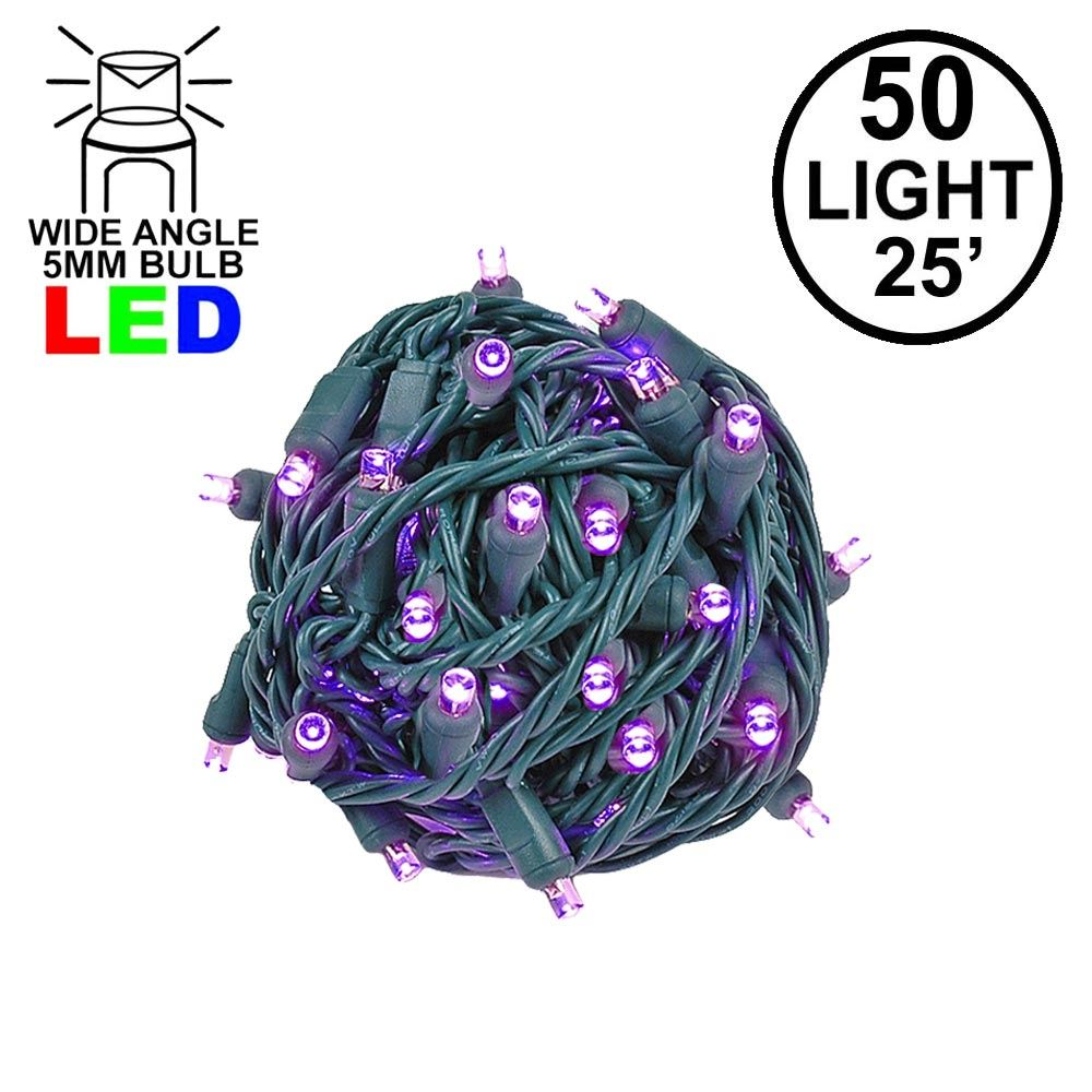 Picture of Commercial Grade Wide Angle 50 LED Purple 25' Long on Green Wire