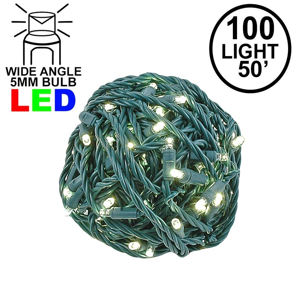 Picture of Commercial Grade Wide Angle 100 LED Warm White 50' Long on Green Wire
