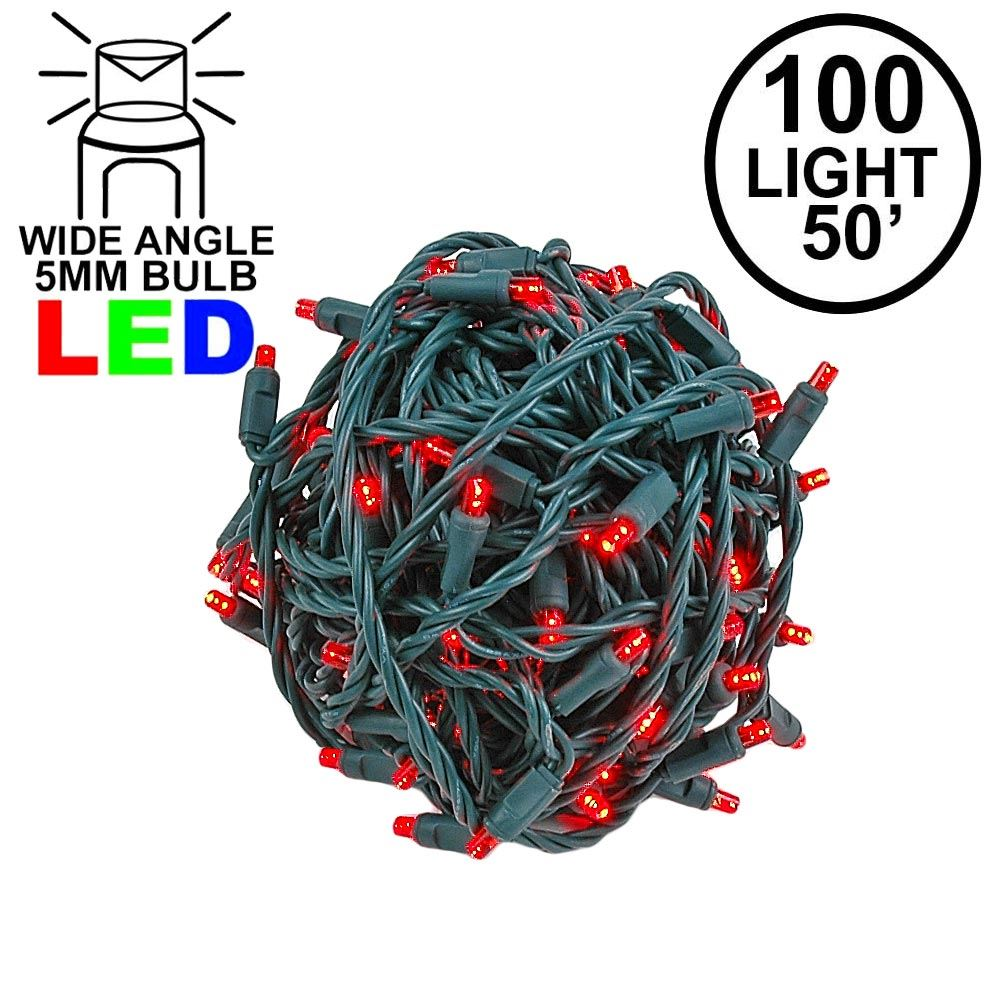Picture of Commercial Grade Wide Angle 100 LED Red 50' Long on Green Wire